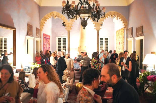 Trip attendees at a dinner party at a local designer's home, which was featured in the pages of Architectural Digest, on our 2019 Insider Journey to Lebanon with AD.