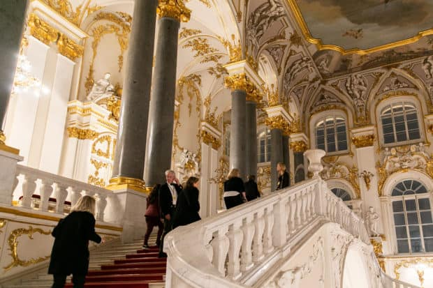 Trip attendees exploring inside the Hermitage for a VIP access tour on our 2019 Insider Journey to St. Petersburg with AD